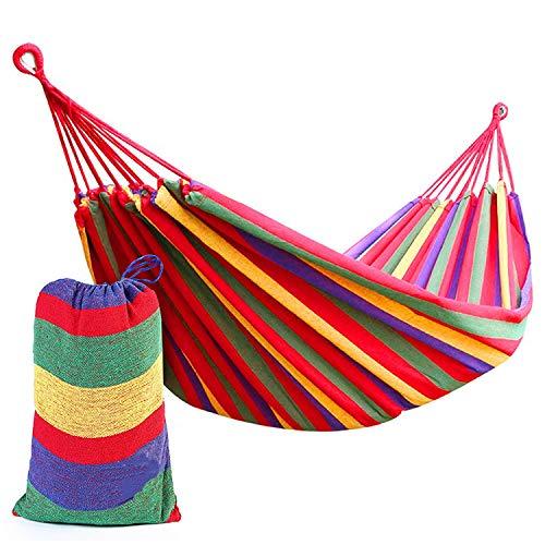 KJLM Hamaca para Acampar de algodón para jardín, Individual o Doble, Acampar y para Exteriores o para Jardines y Viajes (Rojo 210x150)