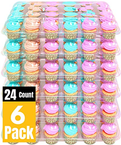 BAKERYBEST Cupcake Boxes, Disposable Plastic Containers Holder, 24 Count 6 Pack Carrier, Bulk Transport Cupcakes, Tall Dome, Muffin Tray, Clear Container Box Holders, Large Storage tray, Cupcakeboxes