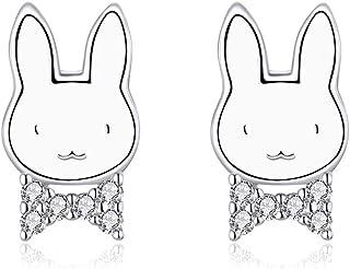CNNIK Orecchini a Bottone con Coniglio in Argento Sterling 925, Orecchini Coniglietto Piercing Anti Allergia con Zirconi, ...