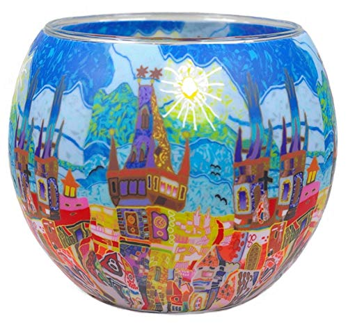 Himmlische Düfte Geschenkartikel GmbH Windlicht Teelichthalter, Glas, Bunt, 9 x 11 cm