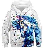 Fanient Jungen 3D Drucken Pferdemuster Casual Sport Sweatshirts Pullover Hoodies Langarm Top Weiß