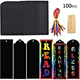 Jelacy 100 Set 3 Style Magic Scratch Rainbow Bookmarks Making Kit for Kids Students Party Scratch Rainbow Paper Art Bookmarks DIY Gift Tags Magic Rainbow Notes Cards with Satin Ribbons ,Bamboo Stylus.
