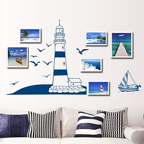 3d tiles Blue sailboat seagull wall stickers small and pure and fresh style photo frame decorative stickers background wall 2018