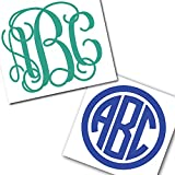 Custom Personalized Vine or Circle Monogram Initials Sticker Decal Compatible with Yeti Cups, Laptops, Tumblers, Car Windows (Glitter Available)