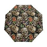 Suzanne Betty - Paraguas plegable para viaje, diseño de calavera gótica, rosas rojas, resistente al viento, compacto, plegable