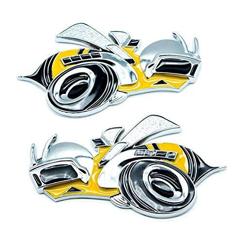YK ZAOOER 2 PCS Super Bee Yellow Car Logo Decals Metall 3D Side Fender Auto-Abzeichen-Aufkleber Für Dodge SRT