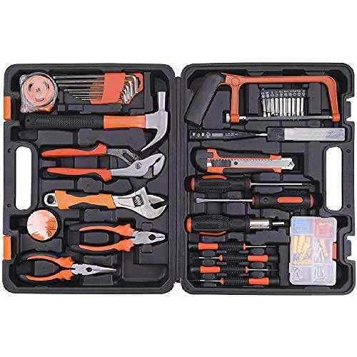 Caja Herramientas,Caja de Herramientas 100 Piezas,Universal de Reparación Conjuntos Bricolaje para Casa cinta métrica y bolígrafo probador eléctrico para reparaciones diarias