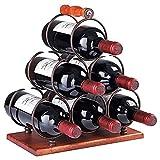 BaoGuona Manija de Madera, Estante de Vino de 6 Botellas con Mango, Estante de Botellas de pie, gabinete de Vino Plegable, Mango de Madera, Almacenamiento de Mesa de Acero