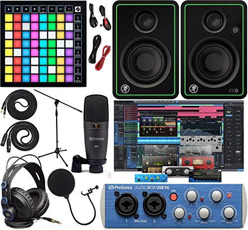 "PreSonus AudioBox 96 Audio Interface Full Studio Kit w/Studio One Artist Software Pack w/Novation Launchpad X Grid Controller for Ableton Live, CR3-X Pair Studio Monitors & 1/4"" Instrument Cable"