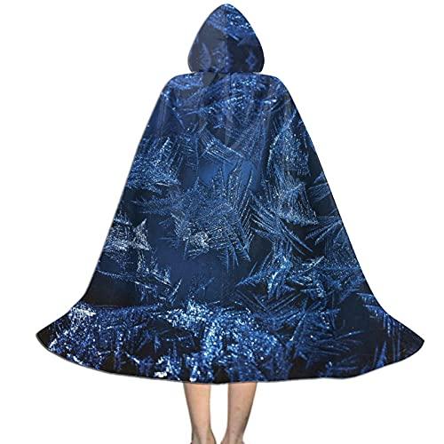 LIANGFF Azul hielo y nieve fibra con capucha capa Unisex Nio Halloween Capa para Diablo bruja mago Halloween Navidad Cosplay