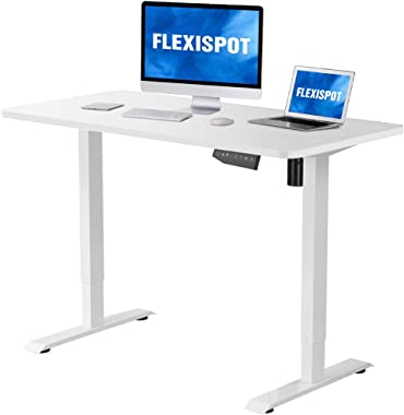 "Flexispot Electric Stand Up Desk Workstation with Desktop, 48 x 30 Inches Whole-Piece Desk Ergonomic Memory Controller Standing Desk Height Adjustable (White Frame + 48"" White Top)"