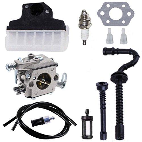 Poweka Carburador + filtro de aire + bujía de encendido + manguera de gasolina / aceite para motosierra Stihl 021, 023, 025, MS210, MS230 y MS250 Carburador