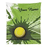 CUXWEOT Custom Blanket with Name Text,Personalized Tennis in Green Super Soft Fleece Throw Blanket for Couch Sofa Bed (50 X 60 inches)