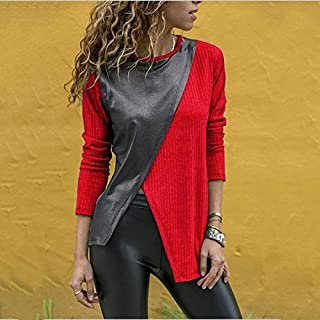 YKDY AU Stitching Round Neck Long-Sleeved T-Shirt Stylish Clothes (Color : Red, Size : L)