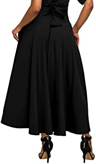 SODIAL Women Solid High Waist Pockets Flared Pleated Long Skirt With Belt Ladies Slit Maxi Skirts Beach Boho Vintage Summer Big Swing Skirts Black S