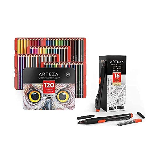 Arteza Colored Pencils and HB Mechanical Pencils Bundle, Drawing Art Supplies for Artist, Hobby Painters & Beginners