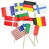IMS Party 301012 Picker'Flaggen', verschiedene Nationalflaggen, 68 mm, 250 Stück/Box