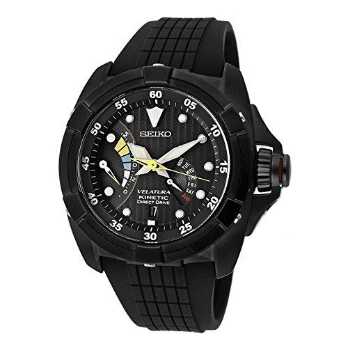 Seiko Men's SRH013 Velatura Kinetic Direct Drive Black Dial Black Rubber Strap Watch