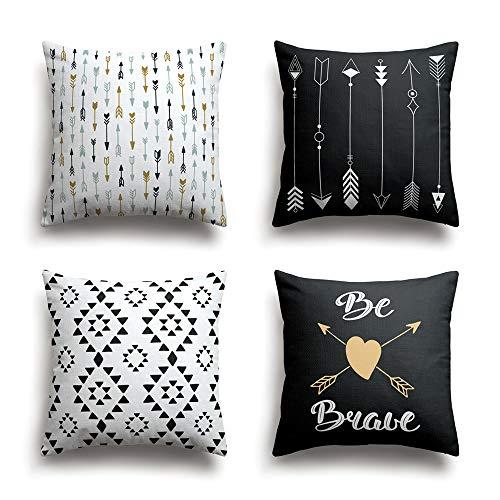 Colour Kingdom Lot de 4 Housses de coussin géométrique Arrow Série Coton Lin Taies d'oreillers décoratives, 48CM * 48CM
