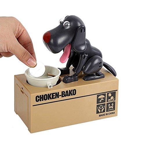Hunde-Spardose, Münzen-essender Hund, Hungriger Hund, Sparbüchse, Schwarz