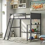 MWKL Neuestes Twin-Hochbett, Kinder-Hochbett mit Ablagefächern und abgewinkelter Leiter, Holz-Hochbett, kein Boxspring erforderlich