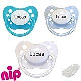 Babysutten Nip Schnuller-mit-Namen, 1 türkis + 1 hellblau + 1 weiß (3er Pack), Silikon, Anatomisch, Gr. 1.