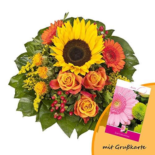 """Dominik Blumen und Pflanzen, Blumenstrauß \""""Sonnenlicht\"""" mit einer Sonnenblume, orangen Rosen, Germini, Färberdistel und Goldrute und Grußkarte \""""Geburtstag\"""""""