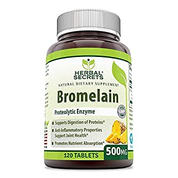 Herbal Secrets Bromelain 500 Mg 120 Tablets  Non-GMO - Proteolytic Enzyme* Anti-Inflammatory Properties* Support Joint Health* Promotes Nutrient Absorption*