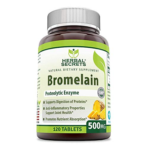 Herbal Secrets Bromelain 500 Mg 120 Tablets (Non-GMO)- Proteolytic Enzyme* Anti-Inflammatory Properties* Support Joint Health* Promotes Nutrient Absorption*