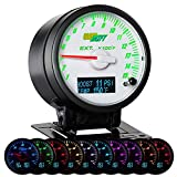 GlowShift 3in1 Analog 1500 F Pyrometer EGT Gauge Kit with Digital 60 PSI Boost & 300 F Temperature Readings - 10 Selectable LED Colors - White Dial & Needle Cap - Clear Lens - 2-3/8' 60mm