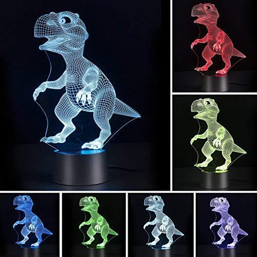 Galaxer Ilusión 3D Luz Nocturna Unicornio Lámpara 7 Colores Control Táctil 3 Baterías AA o USB con Buena Imagen de Dinosaurios Panel Acrílico Base ABS para Decoración de la Noche de Mesa