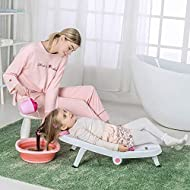 Toddler Shampoo Chair Bather Girls, Kids Hair Washing Bath Seat, Children Head Hair Rinser Salon Chair (Pink)