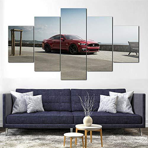 YFTNIPL Modulare Wandkunst Wandaufkleberroter Ford Mustang Oldtimer 5 Teiliges Wandbild,Mit Rahmen,Größe 150 X 80 cm Leinwandbild, Wandbilder XXL
