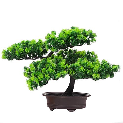 KOET Artificial Bonsai Pine Tree, 11Inch Faux Potted Plant Desk Display Fake Tree Pot Ornaments, Japanese Cedar Bonsai Plant for Home, Office Decoration (1)
