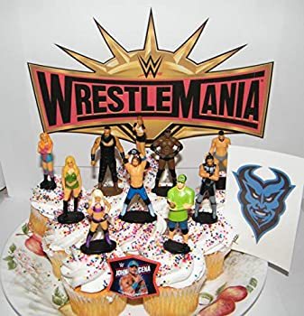 WWE Wrestling Deluxe Cake Toppers Cupcake Decorations Set of 12 with 10 Figures WWE Tattoo FingerRing Featuring John Cena Alexa Bliss and Many More!