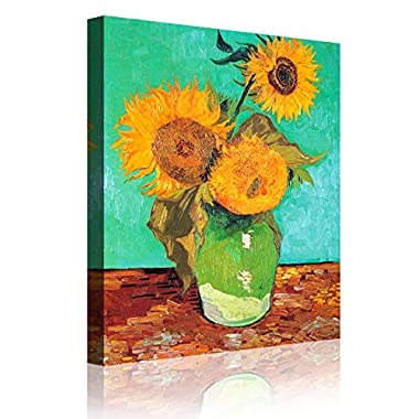 IPIC - Three Sunflowers In A Vase , Vincent Van Gogh Art Reproduction. Giclee Canvas Prints Wall Art for Home Decor 24#F(24X30 )