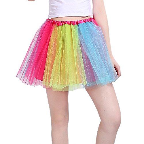 iLoveCos 80er Jahre Neon Tütü/Tutu/Tüllrock/Unterrock Petticoat Rüschen Geschichteten Pink Regenbogen Rot Rock Kleid Kostüm 1980er Jahre Neon Fancy Dress Outfit Zubehör für Kinder (Rainbow)