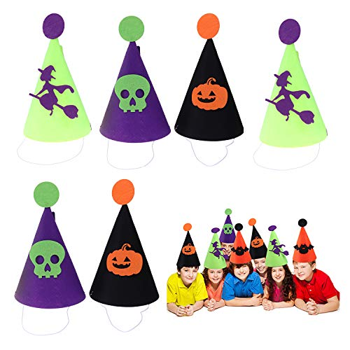 6PCS Felt Cone Party Hat Costume 10x6Inch Gnome Cone Hat for Costume Accessory Party Favors