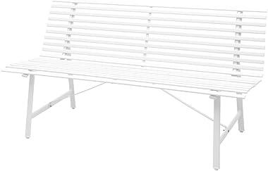 "vidaXL Garden Bench 59"" Steel White Outdoor Park Patio Seats Chairs Furniture"