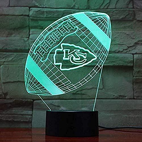 Kansas City Chiefs Rugby 3D Lava Lampe kreative 7 Farbwechsel LED Nachtlicht Geschenk Schlafzimmer Tischlampe