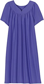 AmeriMark Solid Sweetheart Neck Mumuu Lounger House Dress Nightgown with Pockets