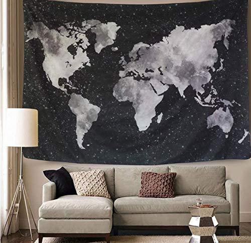Impression Noir Carte Du Monde Tapisserie Tenture Murale Décor À La Maison Pour Dortoir Chambre Literie Tissu Mur Tapis 200 * 150Cm