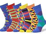 Easton Marlowe - Lot 6 paires - Chaussettes Fantaisie Homme Motif Coton Peigné - 6pk #4, mixed - bright colors, 43-46 EU shoe size