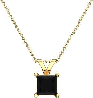 Collana con diamante nero taglio principessa 14K oro (AAA)