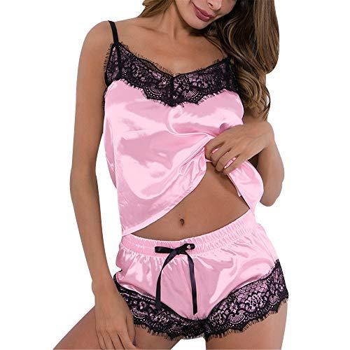 LEJAHAO Pijama Verano Mujer Seda Corto Invierno Sexy Erotica Raso Pantalon de Pijamas Sin Mangas Camisolas Dormir Saten Encaje Señora Short Babydoll Conjuntos Dos Piezas para Chica Adolescentes Rosa