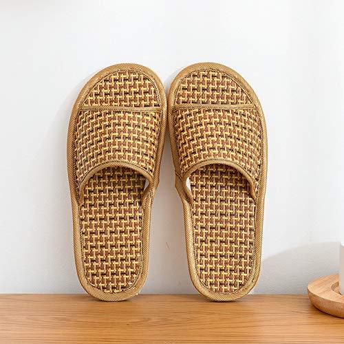 Mauel Unisex Bambus Rattan Slides Bambus-Rebe Damen-Hausschuhe Slippers Sommer Hausschuhe kühle cool Gewebt bequem Sandal Latschen Schlappen Indoor Wohnzimmer,Light,40—41