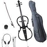 Cecilio 4/4 CECO-1BK Black Metallic Electric Cello with Ebony Fittings in...