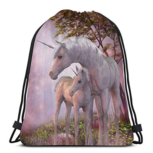 BXBX Trasportare Horse Mom and Baby Unisex Outdoor Gym Sack Bag Travel Drawstring Backpack Bag