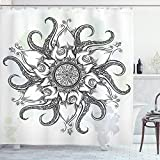 Ambesonne Octopus Shower Curtain, Trippy Nautical Mandala Abstract Artwork with Tentacle and Floral Elements Design, Cloth Fabric Bathroom Decor Set with Hooks, 70' Long, Grey White