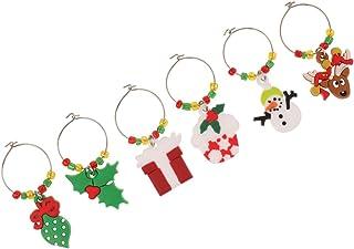 クリスマステーマ サンタクロース 可愛い ワイングラス チャーム マーカー リング テーブル 装飾 6個/セット - セット1